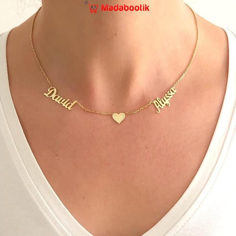 collier cœur 2 prénoms