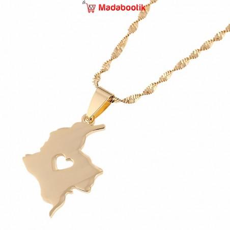 collier pendentif carte colombie