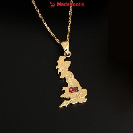 collier pendentif carte grande bretagne