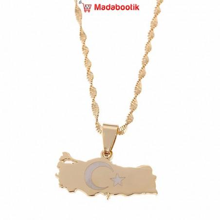 collier pendentif carte turquie