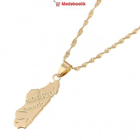 collier pendentif carte madagascar tananarive